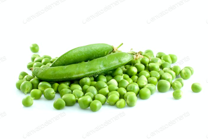 Pile of green peas and pair of pods
