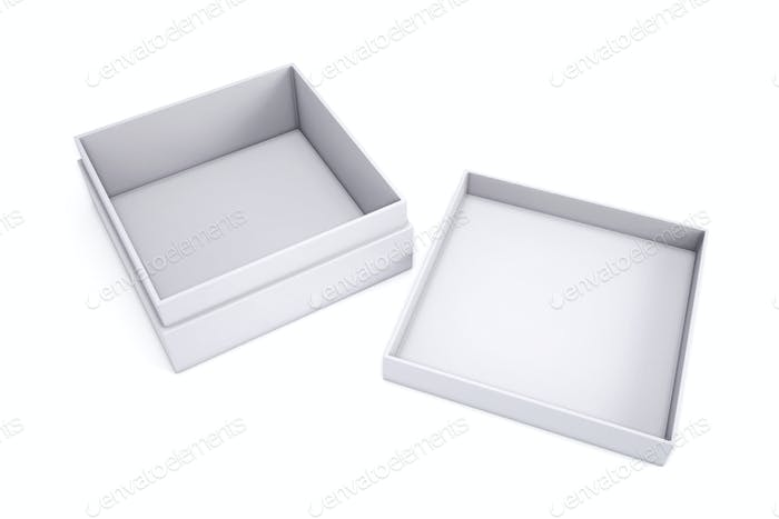 Empty white box with the adjacent cap on a white background. 3d
