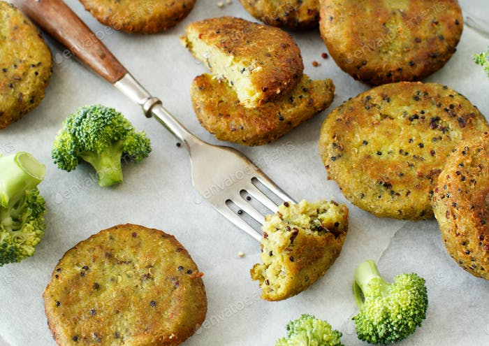 Fried vegetarian broccoli and quinoa burgers