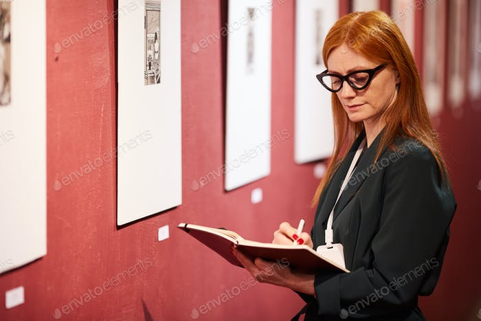 Woman working at gallery