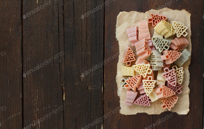 Tricolor fir tree shaped pasta