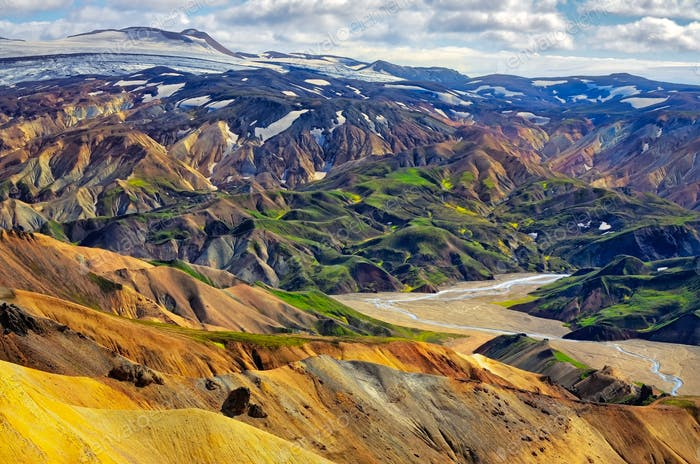 Landscape view of Landmannalaugar colorful volcanic mountains, Iceland