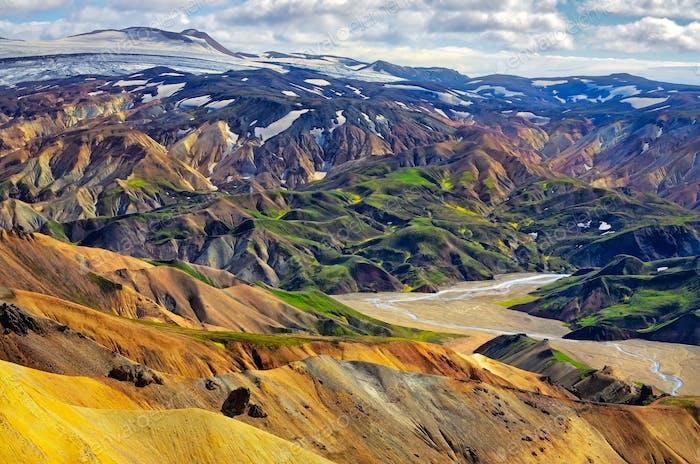 Landschaftsbild Landmannalaugar bunte Vulkanberge, Island