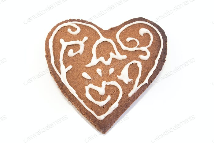 Gingerbread cookies heart isolated on white