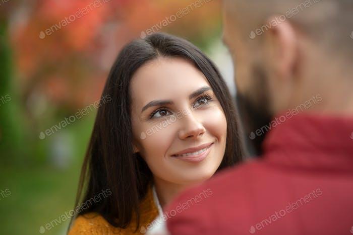 Portrait of a happy joyful young woman