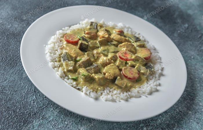 Thai green chicken curry with rice