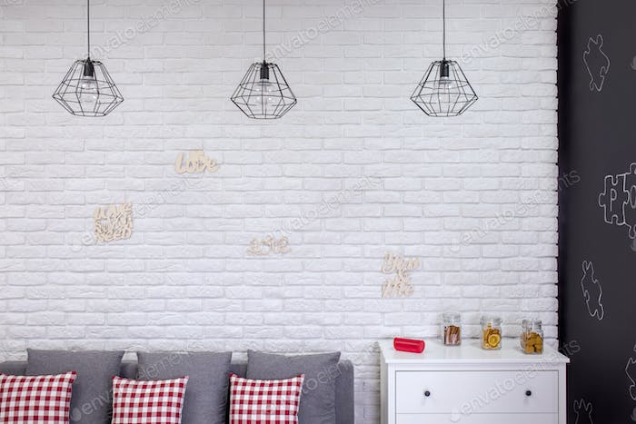 Living room with industrial lamps