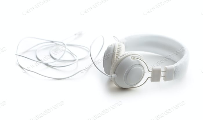 White headphones.