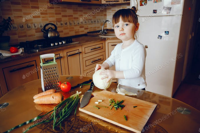 girl in a kitchen