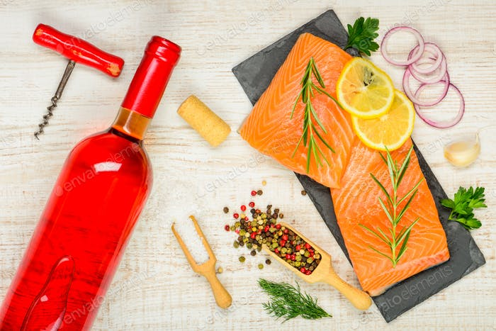 Rose Wine with Salmon Fillet and Cooking Spices