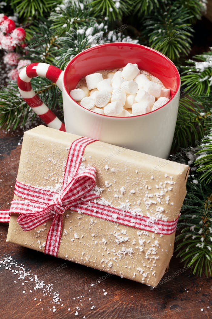 Christmas gift box and hot chocolate with marshmallow