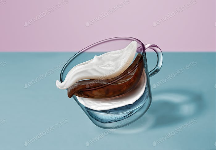 Separate flying layers of coffee, milk, water, milk foam in the coffee drink in a transparent cup on