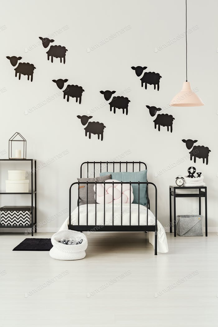 Sheep stickers in child's bedroom