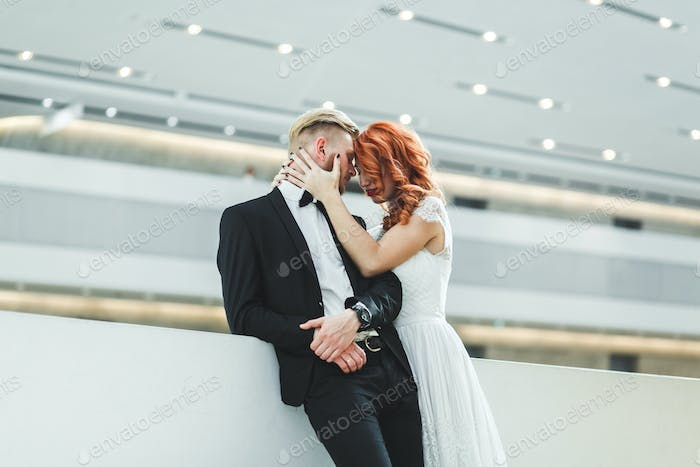 Wedding couple in a futuristic building