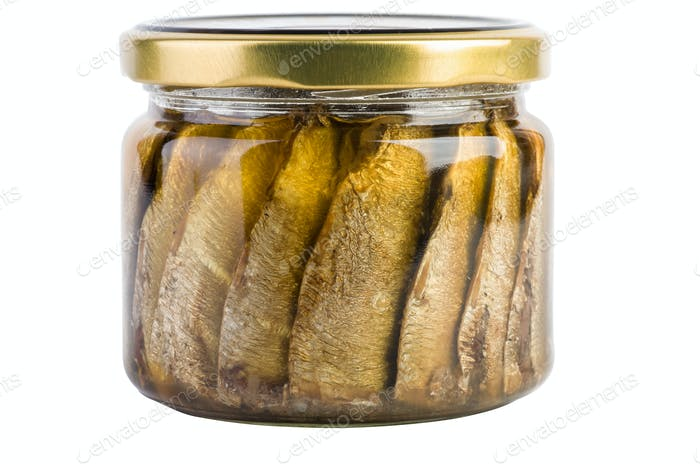 Sardines with oil conserved in glass jar