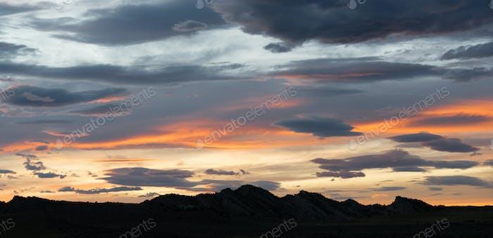 Dramatisch Kontrast Skyscape Abenddämmerung Sonnenuntergang Lange Panorama