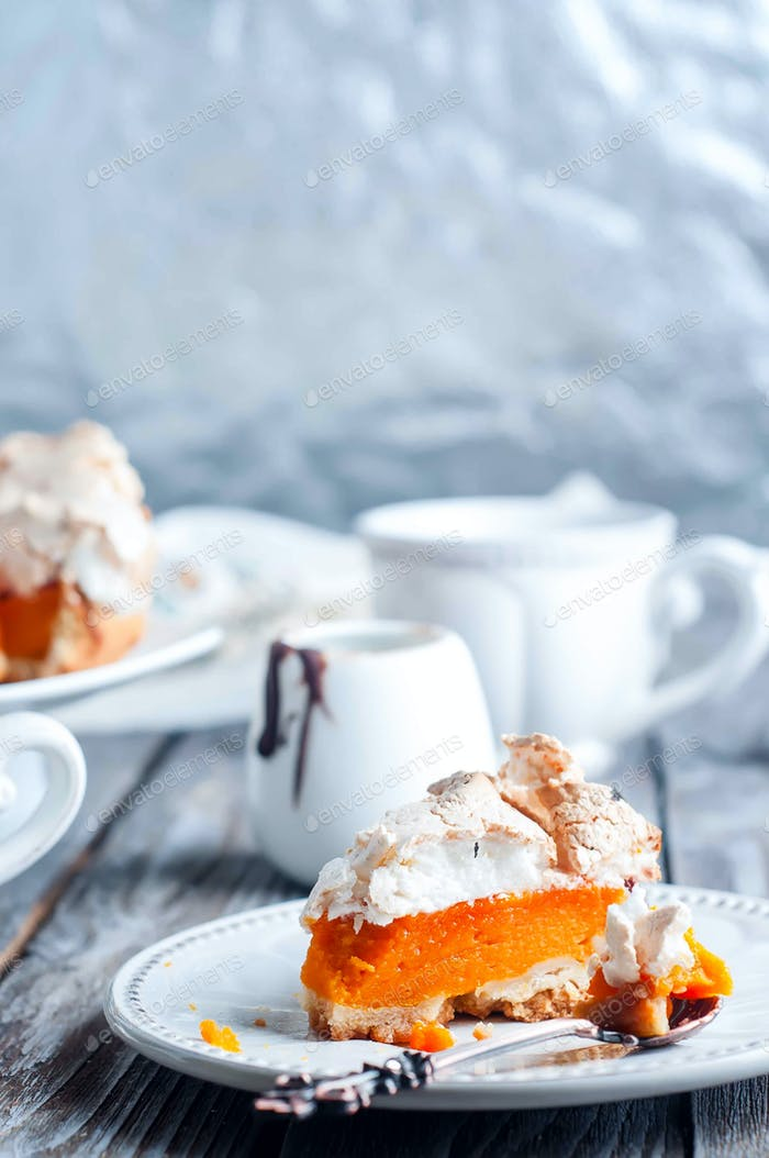 pumpkin pie with meringue