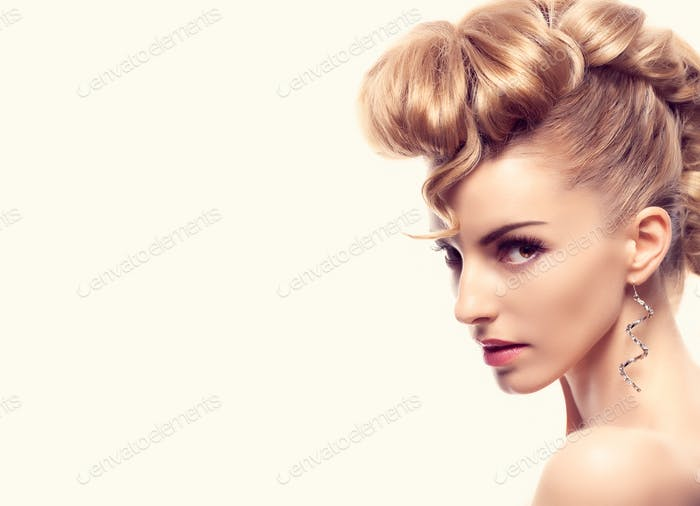 Fashion natural Makeup.Woman with mohawk hairstyle