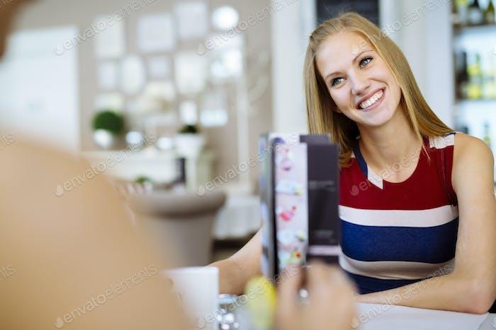 Beautiful women enjoying beverages