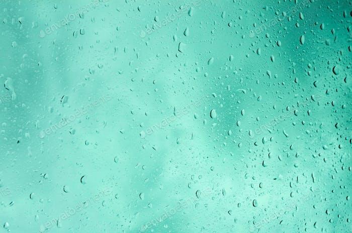 Raindrops turquoise background