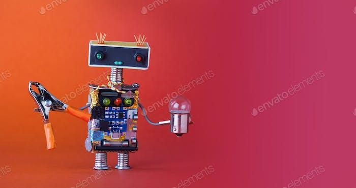 Kreatives Design Serviceman Roboter mit Zange Glühbirne