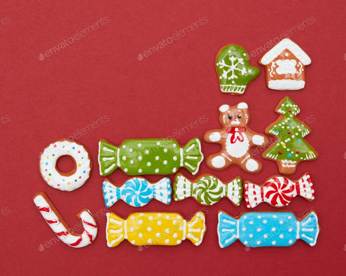Corner frame of Christmas cookies