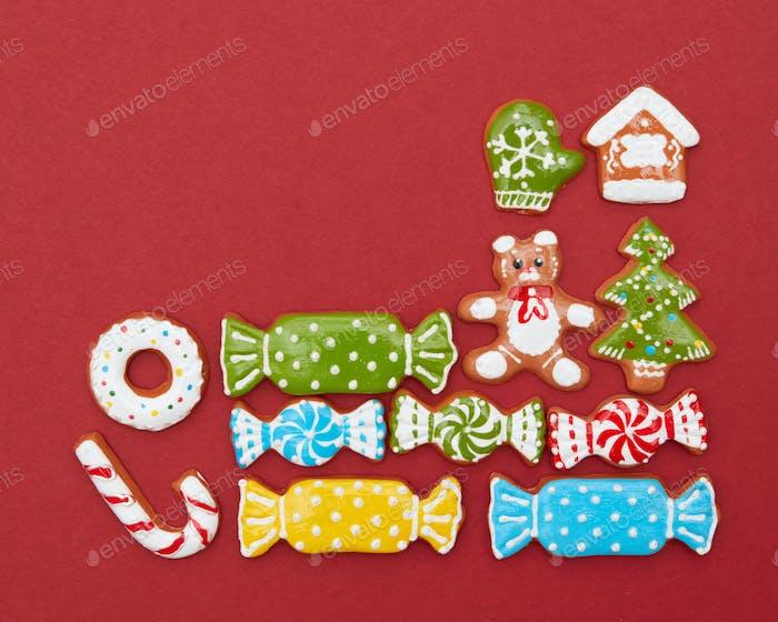 Eckrahmen von Weihnachtsplätzchen