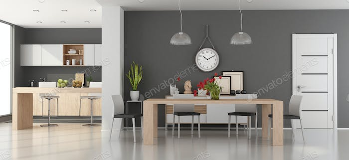 Modern dining room with kitchen