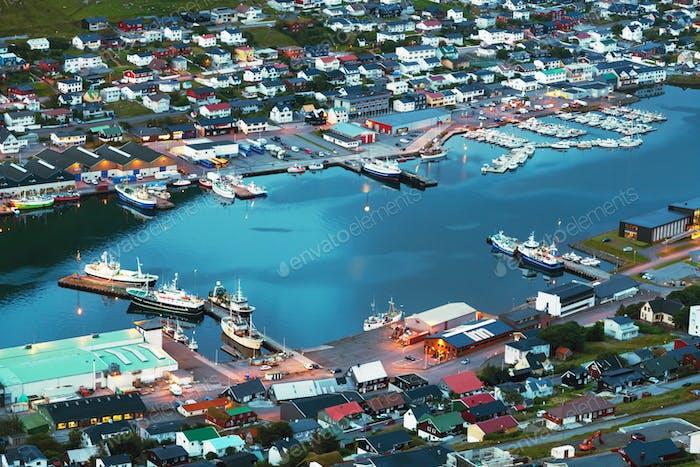Breathtaking cityscape of Klaksvik town