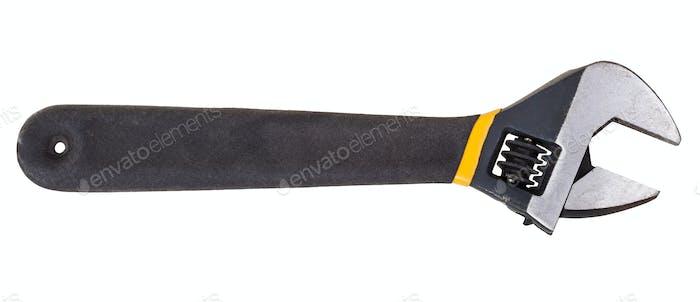 black steel adjustable spanner isolated