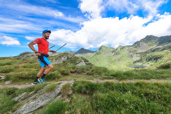 Trail running with poles