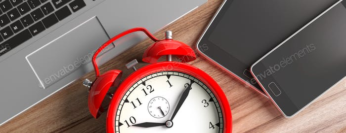 Time management. Devices and alarm clock on wood, banner, close up top view. 3d illustration