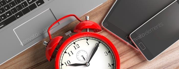 Zeitmanagement. Geräte und Wecker auf Holz, Banner, Nahaufnahme Draufsicht. 3D Illustration