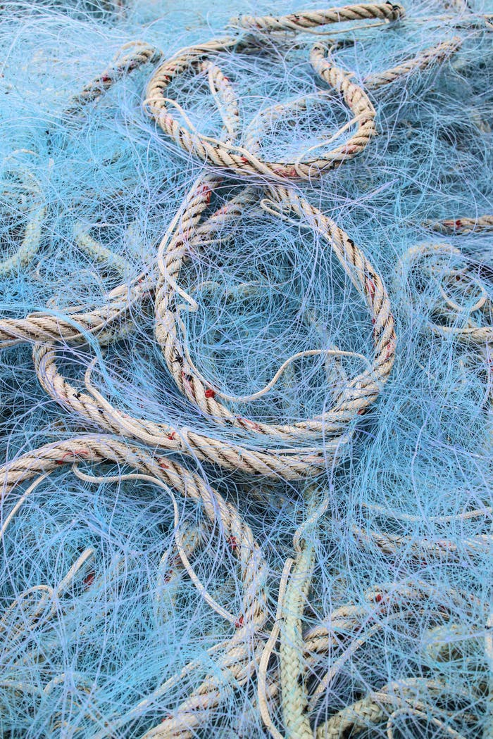 Blue fishing nets and ropes