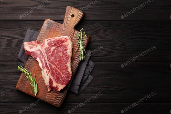 Raw T-bone beef steak
