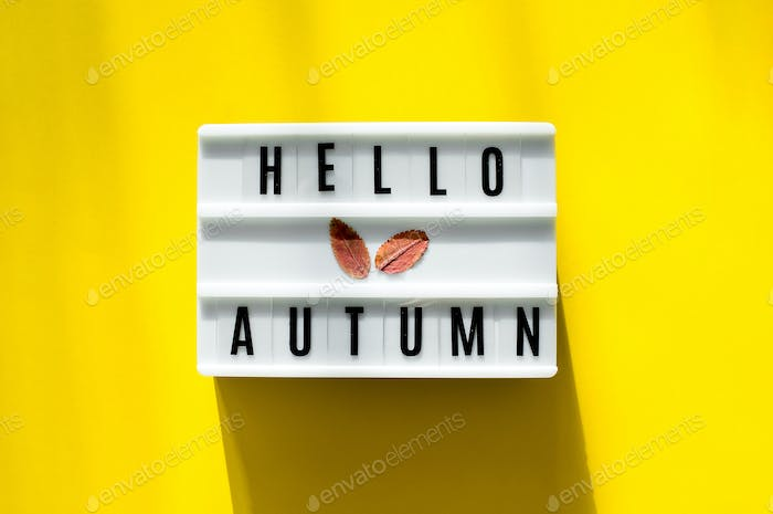 Light box the words Hello Autumn on yellow background. Colorful autumn fall leaf. Top view, flat lay