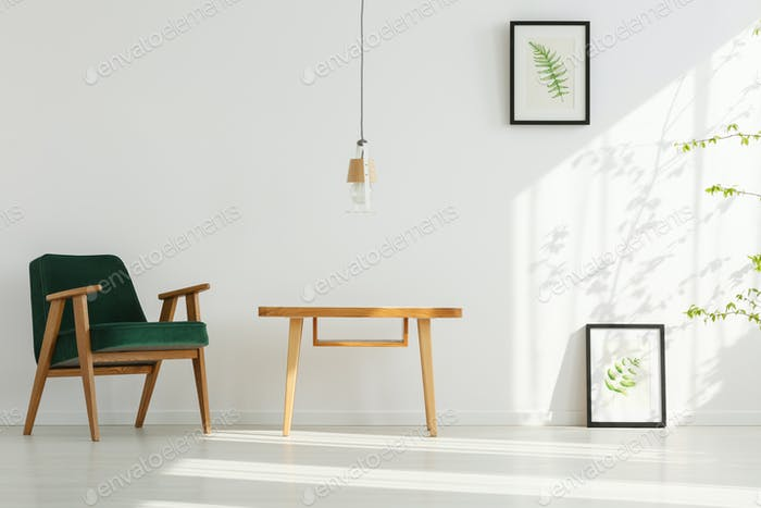 Home interior with green armchair