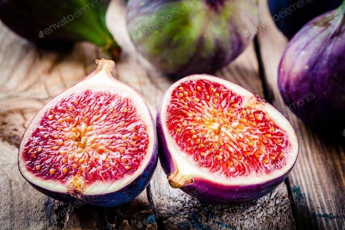 Fresh ripe figs closeup