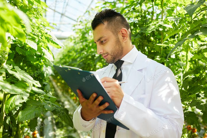 Checking notes about plants