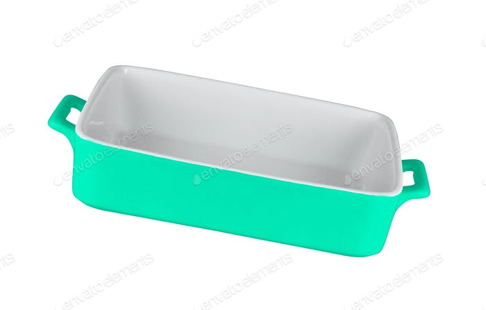 ceramic rectangular baking dish isolated