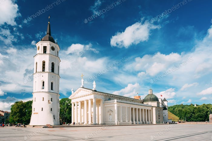 Vilnius Lithuania. Bell Tower And Cathedral Basilica Of St. Stan