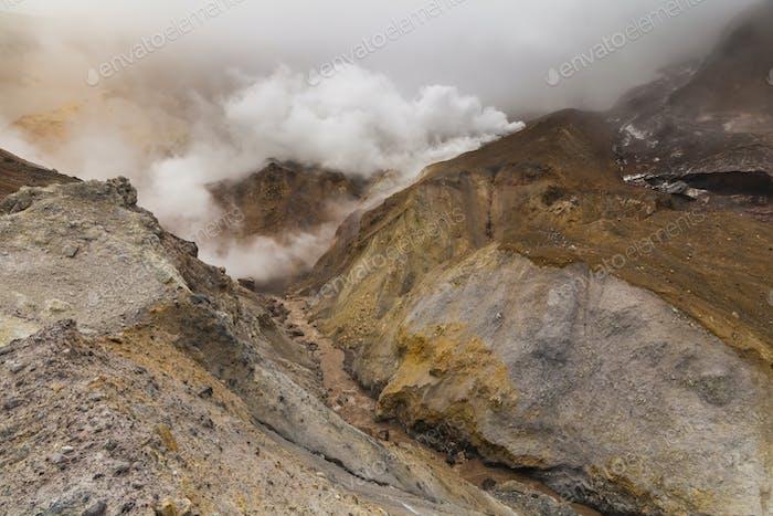 Impresionantes vistas del Horizontal volcánico. Península de Kamchatka.