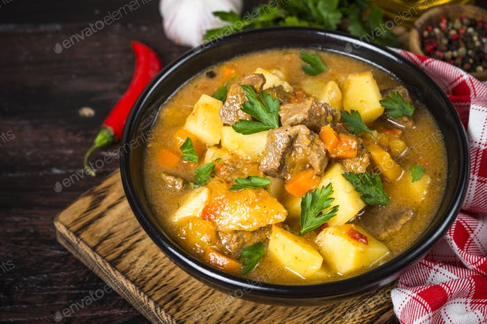 Goulash with meat and vegetables. Beef stew