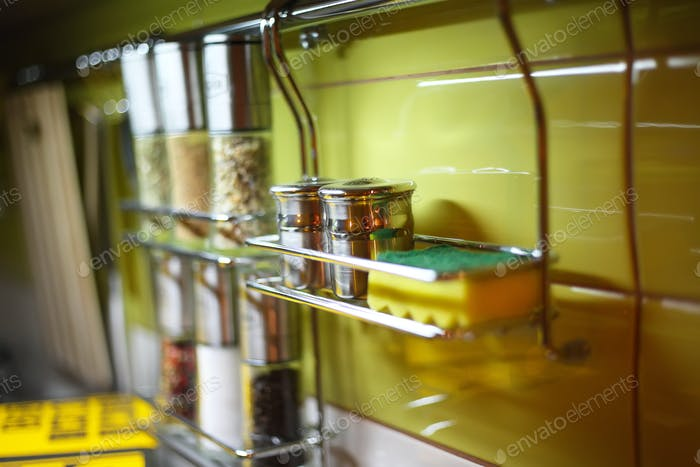 Salt Cellar and other spices in the kitchen railings
