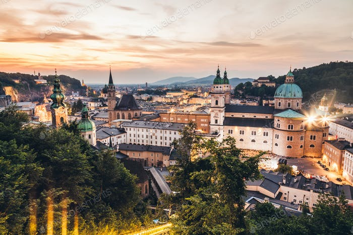 Panoramic view of beautiful Salzburg in Austria