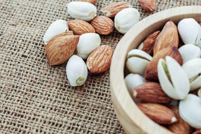 Almonds on sack