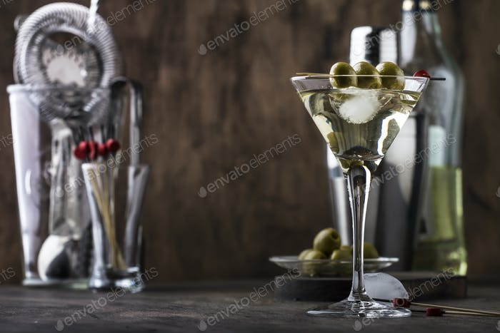 Classic Martini vodka cocktail, with dry vermouth, vodka and green olives