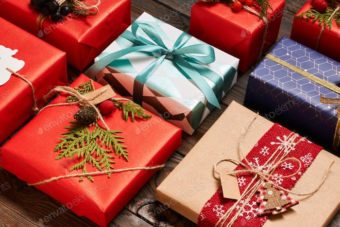 Thumbnail for Christmas presents on wooden background