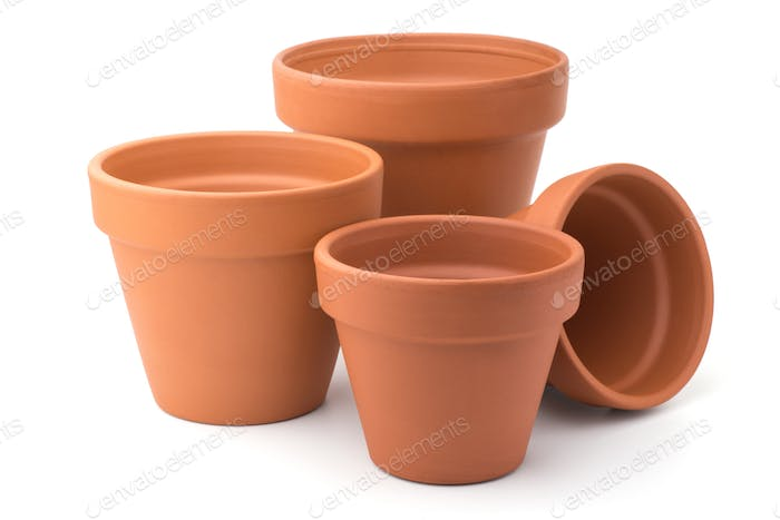 Empty ceramic flower pots