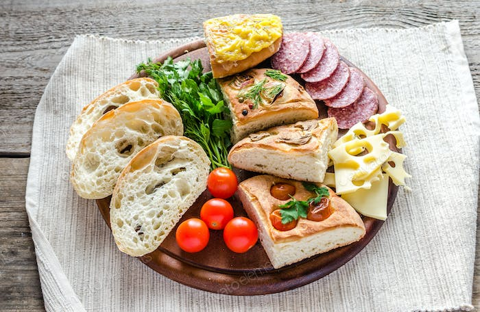 Traditional italian bread with cheese and salami